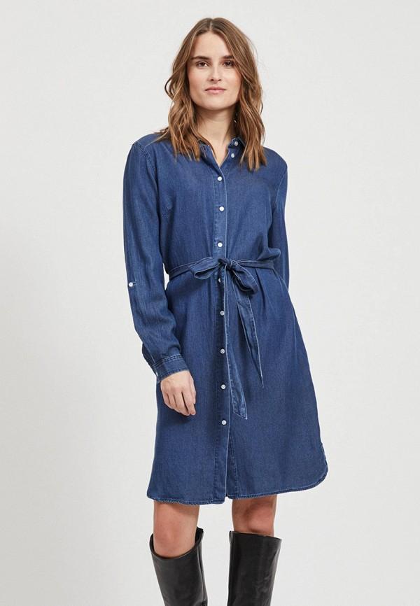 женское джинсовые платье vila, синее