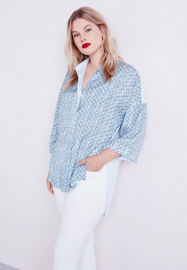 Купить Рубашка Violeta by Mango, - SILKY, VI005EWCAPU7, синий, Осень-зима 2018/2019