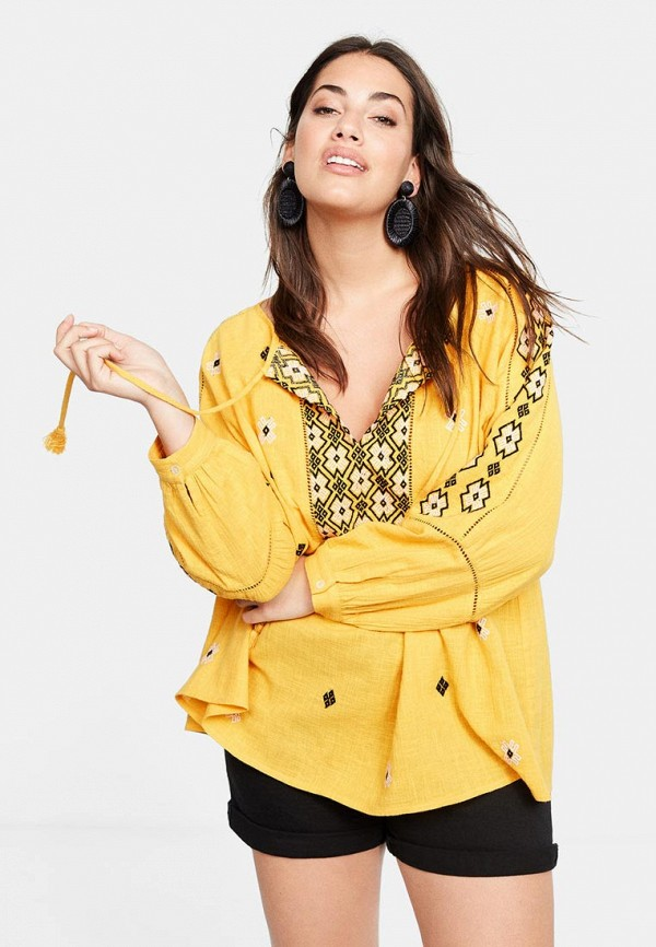 Фото - женскую блузку Violeta by Mango желтого цвета