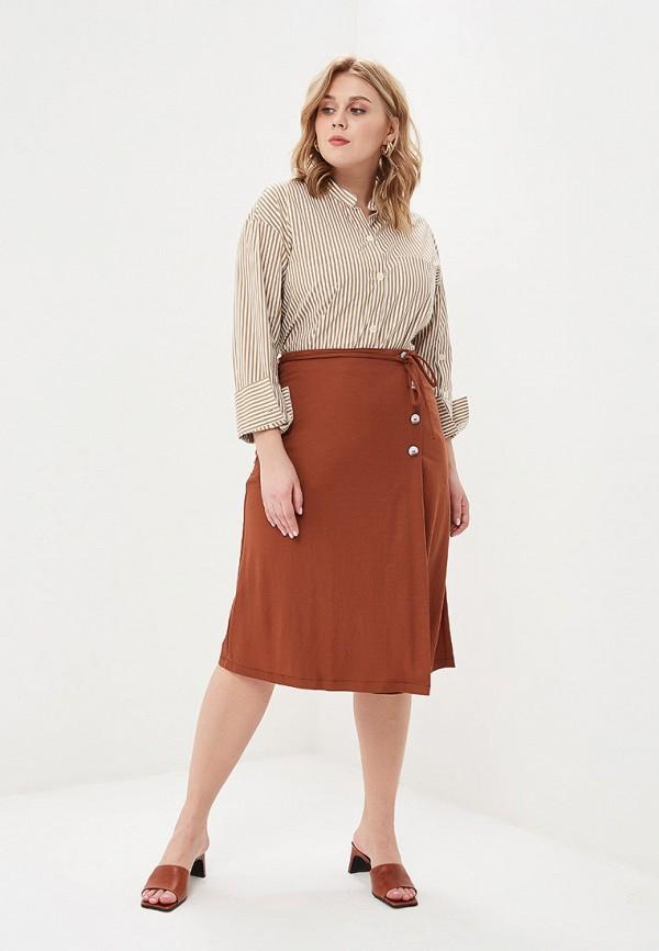 Фото 2 - женскую юбку Violeta by Mango коричневого цвета