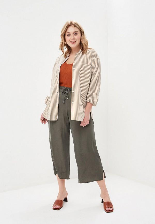 Фото 2 - женские брюки Violeta by Mango цвета хаки
