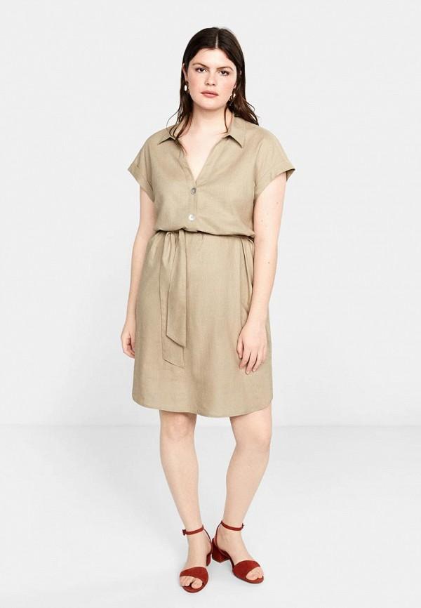 Фото 2 - женское платье Violeta by Mango бежевого цвета