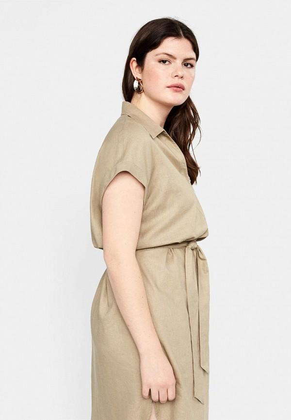 Фото 4 - женское платье Violeta by Mango бежевого цвета
