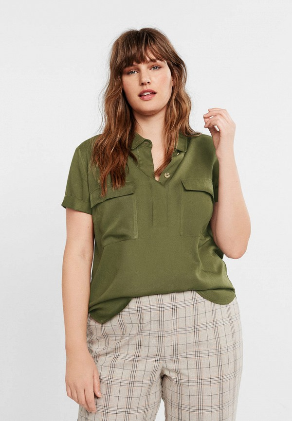 Купить женскую блузку Violeta by Mango цвета хаки