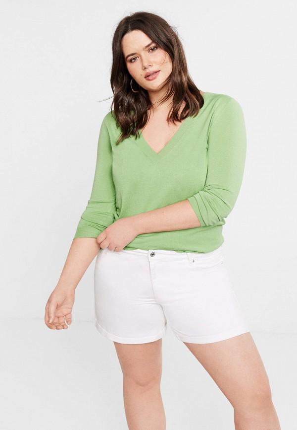 женский пуловер violeta by mango, зеленый