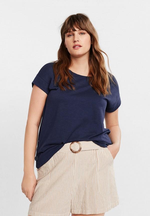 Фото - женскую футболку Violeta by Mango синего цвета