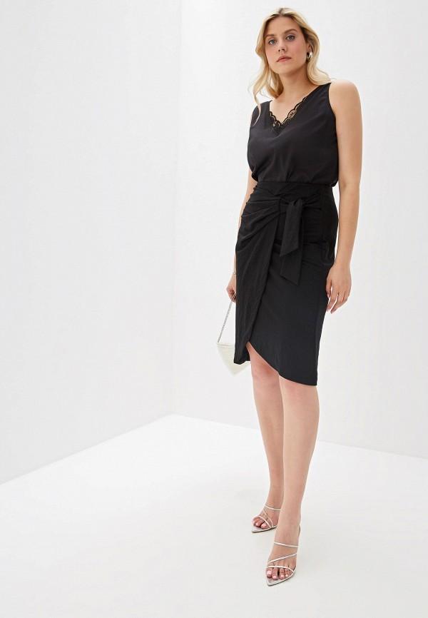 Фото 2 - женскую юбку Violeta by Mango черного цвета