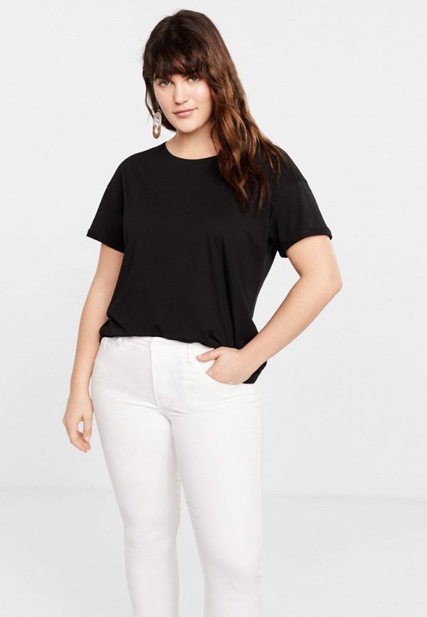 Купить женскую футболку Violeta by Mango черного цвета