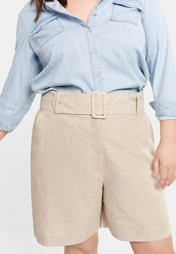 Купить женские шорты Violeta by Mango бежевого цвета