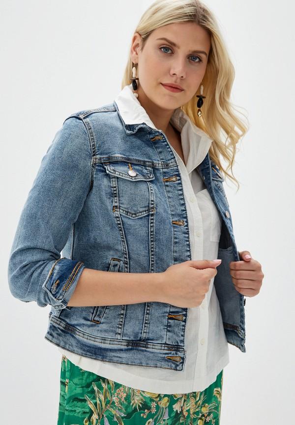 женская джинсовые куртка violeta by mango, синяя