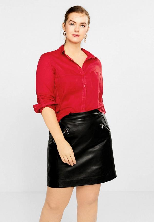 женская рубашка с длинным рукавом violeta by mango, красная