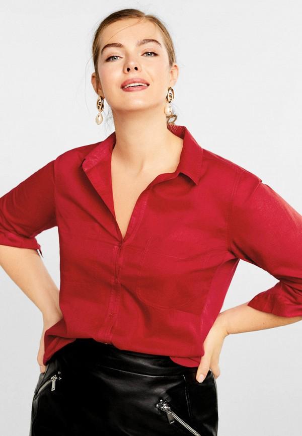 Фото 2 - женскую рубашку Violeta by Mango красного цвета