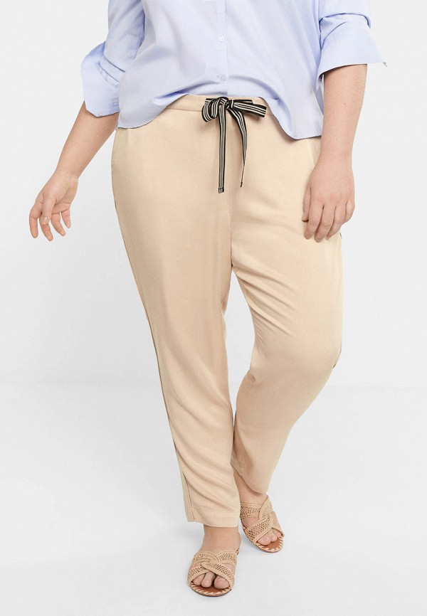 женские брюки violeta by mango, бежевые