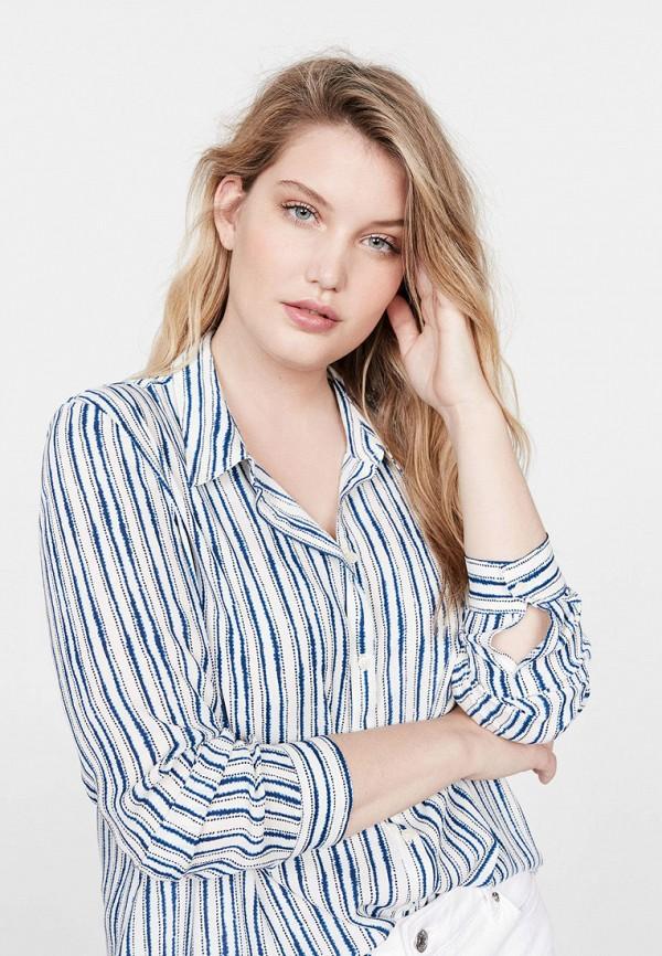 женская рубашка с длинным рукавом violeta by mango, синяя