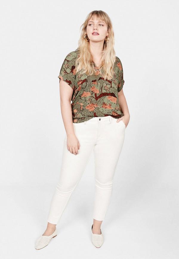 Фото 2 - женскую блузку Violeta by Mango зеленого цвета