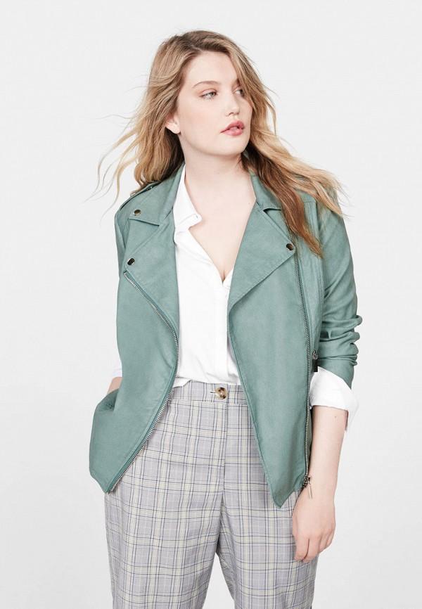 женская куртка violeta by mango, зеленая