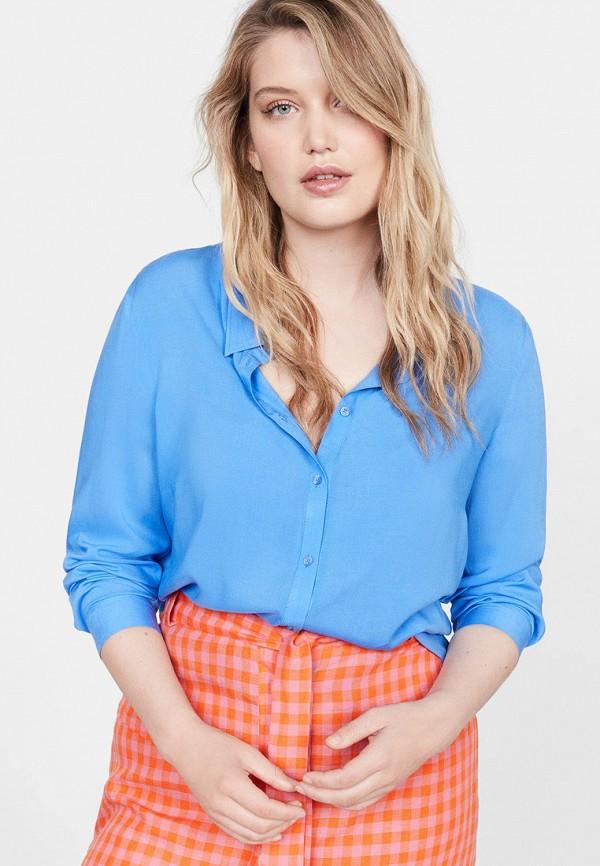 женская блузка violeta by mango, голубая