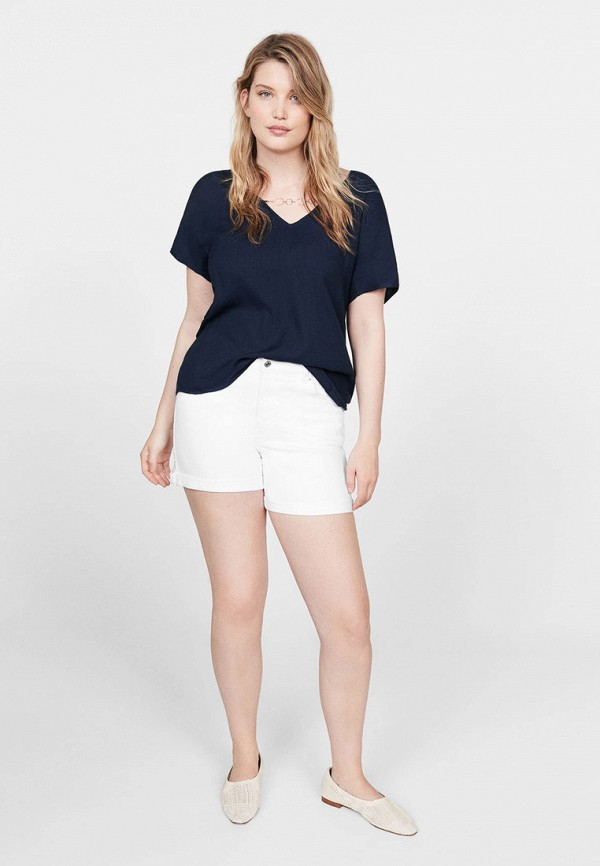 Фото 2 - женскую футболку Violeta by Mango синего цвета