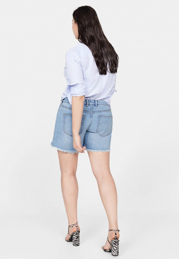 Фото 3 - Шорты джинсовые Violeta by Mango голубого цвета
