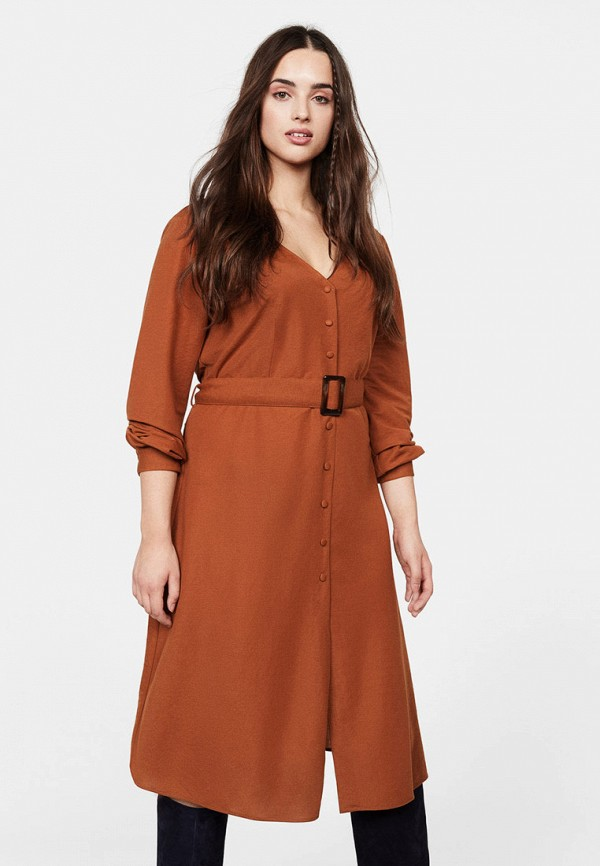 женское повседневные платье violeta by mango, оранжевое