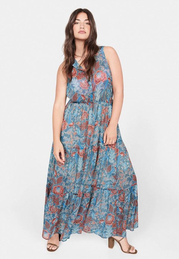женское повседневные платье violeta by mango, синее