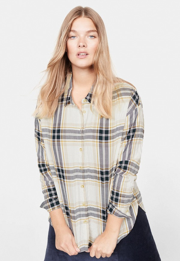 Фото - женскую рубашку Violeta by Mango бежевого цвета
