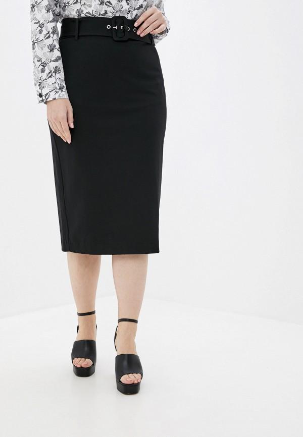 женская прямые юбка violeta by mango, черная