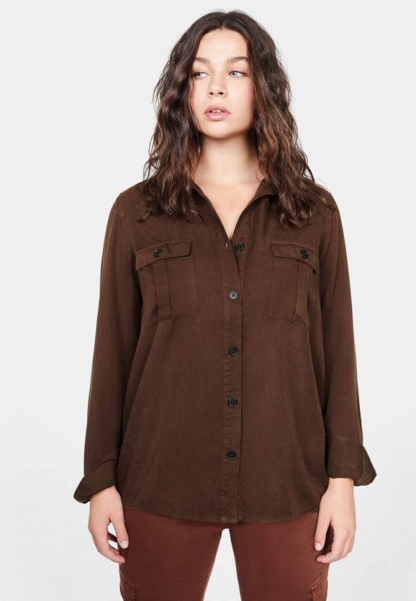 Фото - женскую рубашку Violeta by Mango коричневого цвета