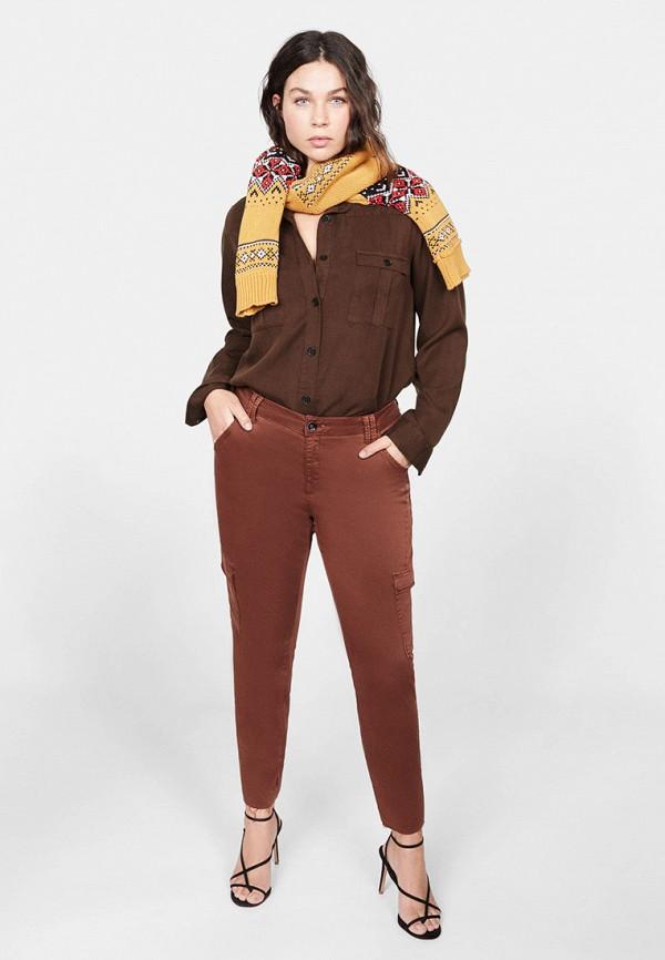 Фото 2 - женскую рубашку Violeta by Mango коричневого цвета