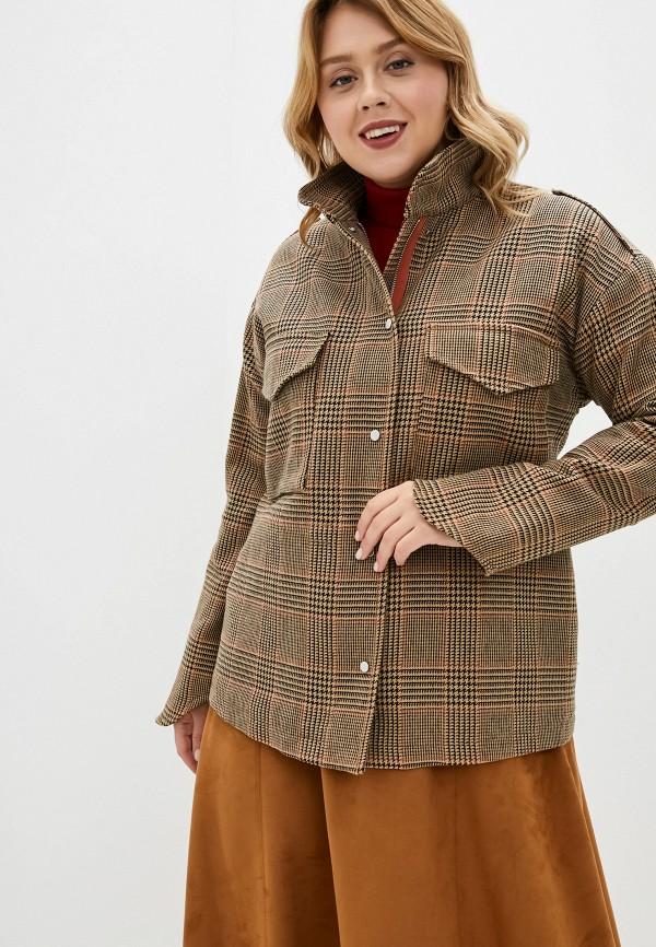 женская куртка violeta by mango, коричневая
