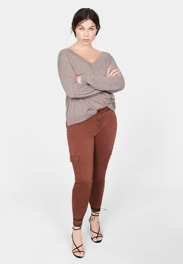Фото 2 - женский пуловер Violeta by Mango серого цвета