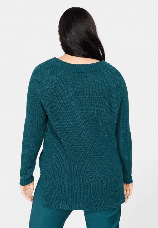 Фото 3 - женский пуловер Violeta by Mango зеленого цвета