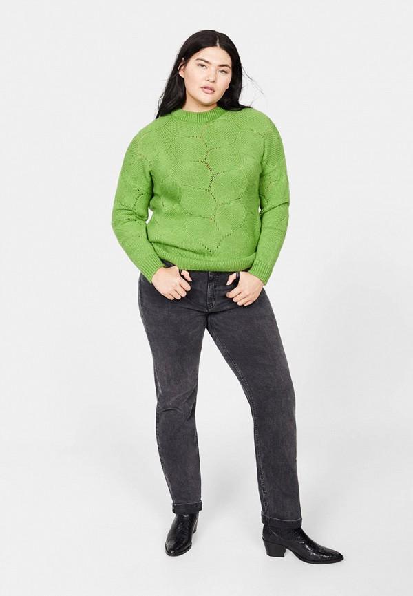 Фото 2 - женский джемпер Violeta by Mango зеленого цвета