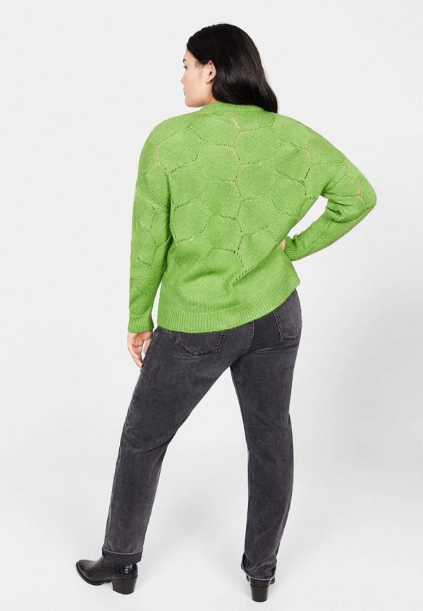 Фото 3 - женский джемпер Violeta by Mango зеленого цвета