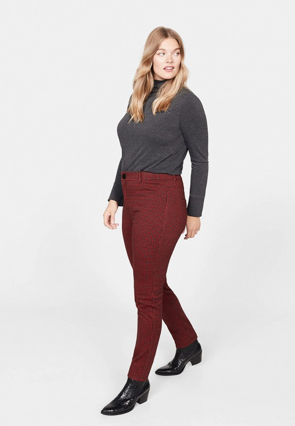 Фото 2 - женские брюки Violeta by Mango бордового цвета