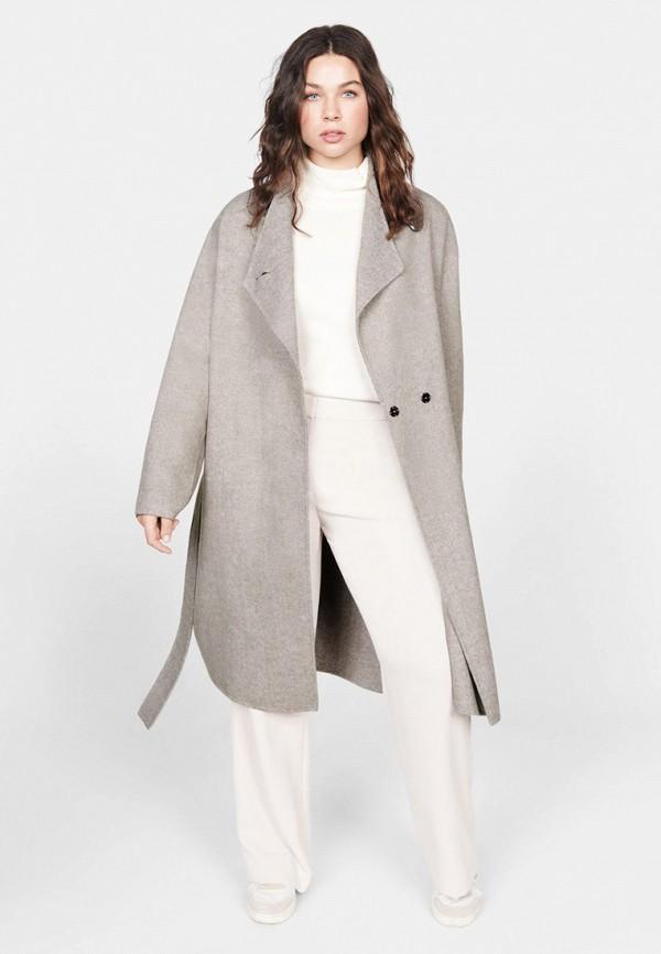 женское пальто violeta by mango, серое