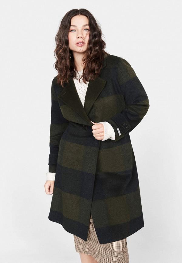 женское пальто violeta by mango, хаки