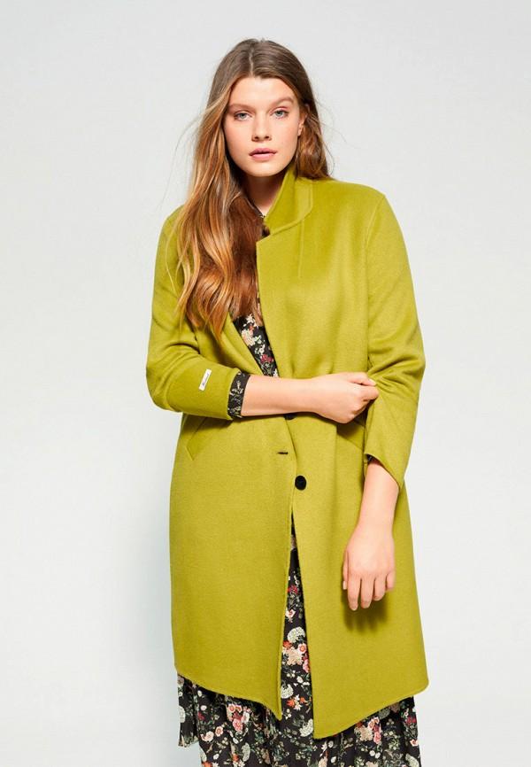 женское пальто violeta by mango, зеленое