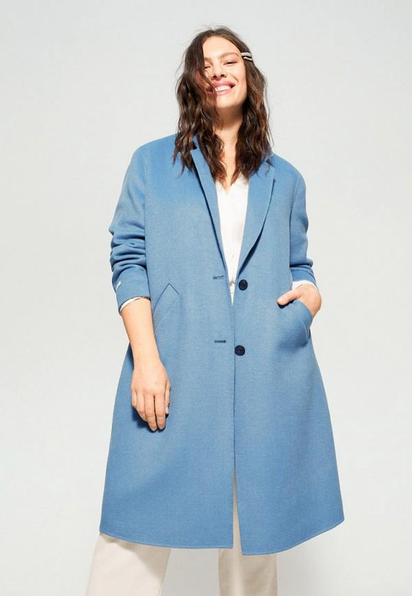 женское пальто violeta by mango, голубое
