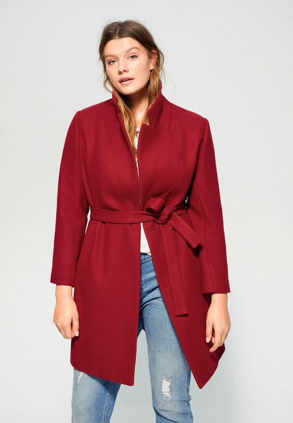 женское пальто violeta by mango, красное