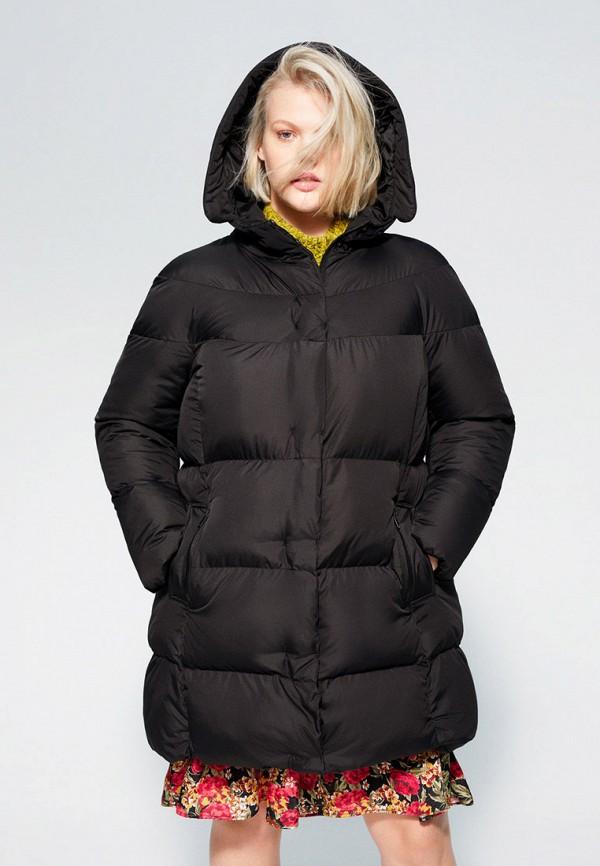 женская утепленные куртка violeta by mango, черная