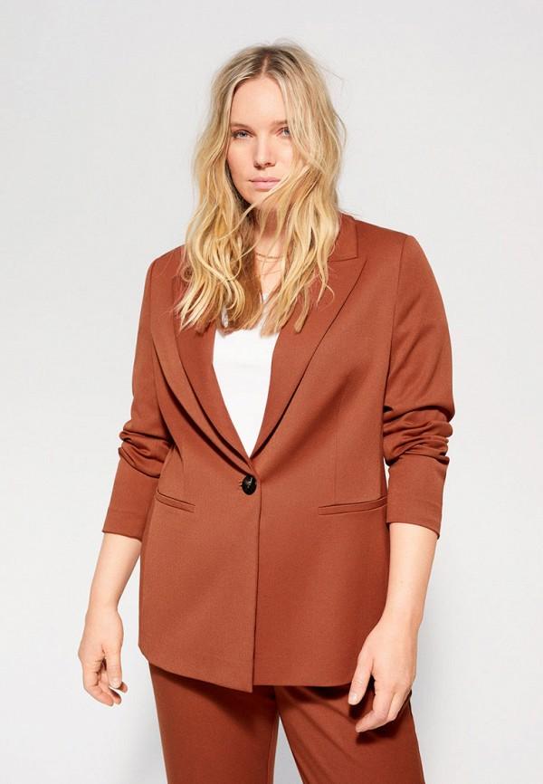 женский пиджак violeta by mango, коричневый