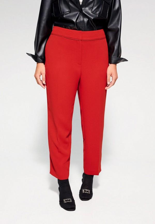 женские зауженные брюки violeta by mango, красные