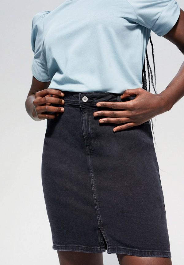 женская юбка violeta by mango, серая