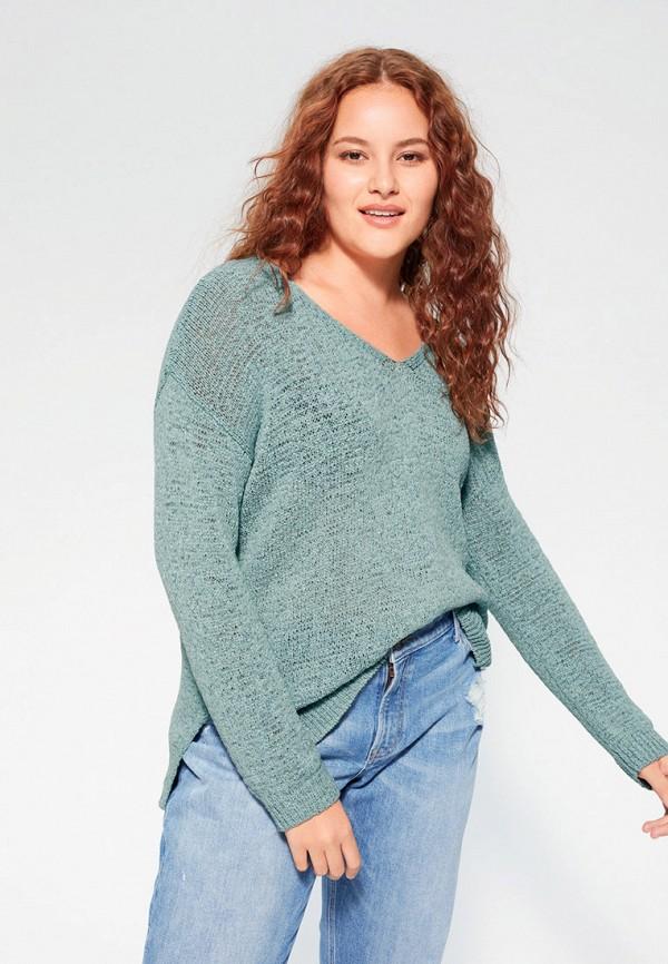 женский пуловер violeta by mango, голубой