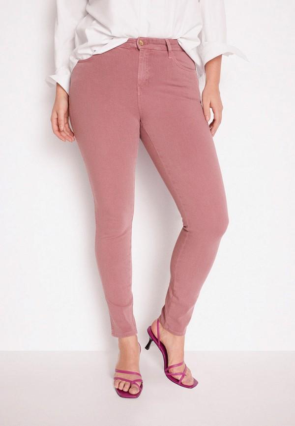 женские зауженные брюки violeta by mango, розовые