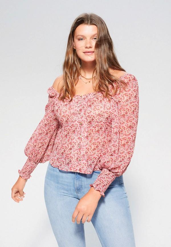 женская блузка violeta by mango, розовая