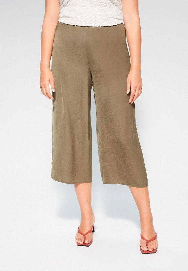 женские прямые брюки violeta by mango, хаки