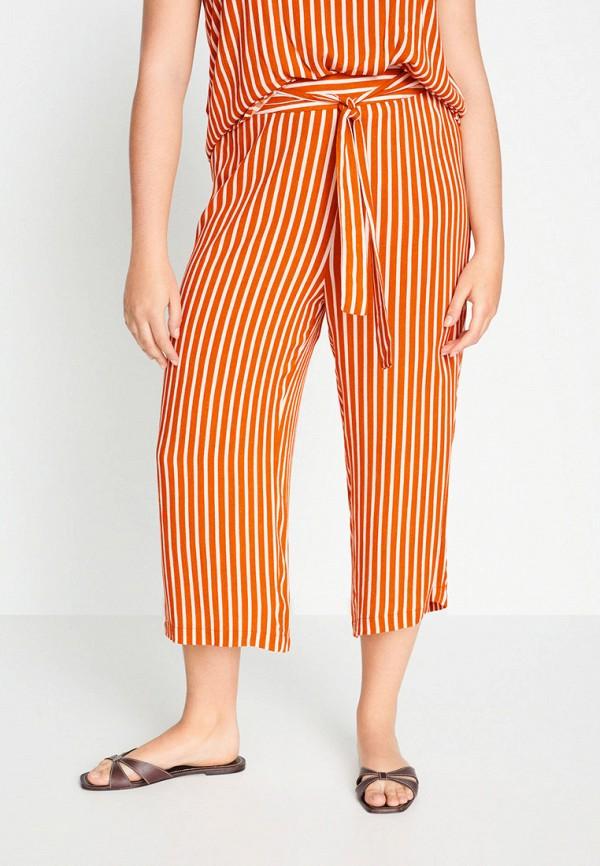 женские прямые брюки violeta by mango, оранжевые