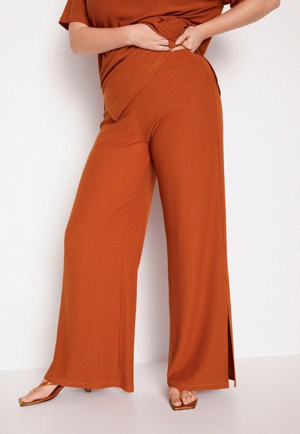 женские брюки клеш violeta by mango, оранжевые
